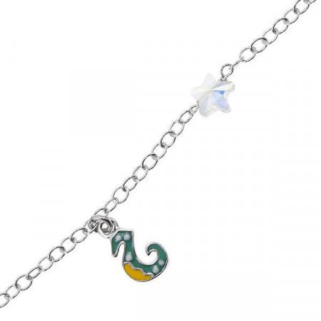 Bracciale in argento con cavalluccio marino e Swarovski