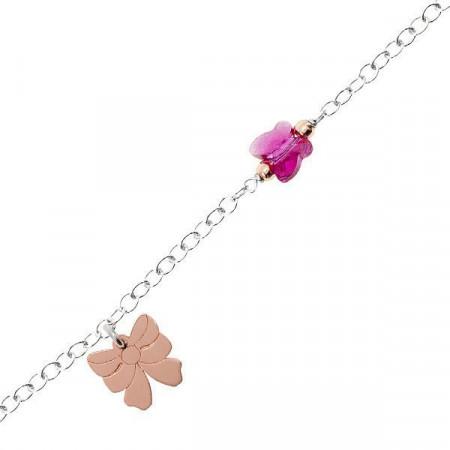 Bracciale in argento con fiocco rosa e Swarovski