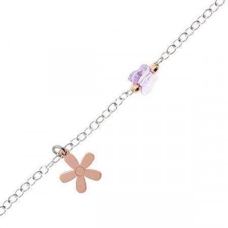 Bracciale in argento con fiore rosa e cristalli Swarovski