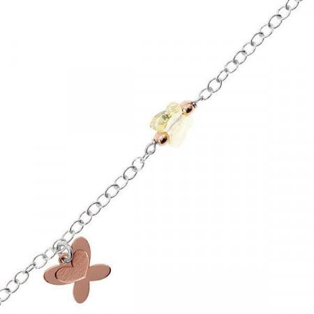 Bracciale in argento con farfalla rosa e Swarovski