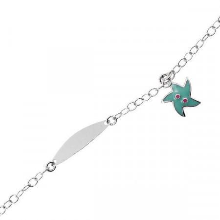 Bracciale in argento con stella marina e piastrina per incisione