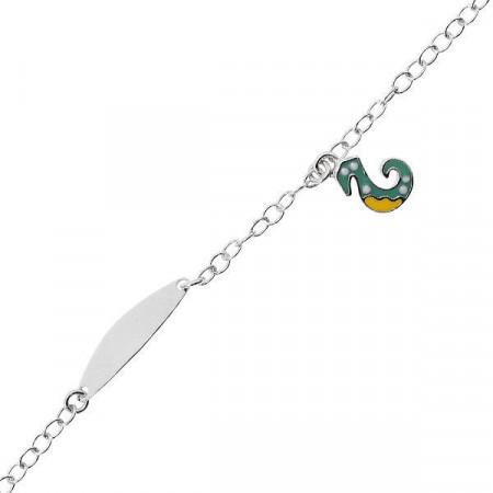 Bracciale in argento con cavalluccio marino e piastrina per incisione