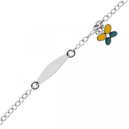 Bracciale in argento con farfalla e piastrina per incisione