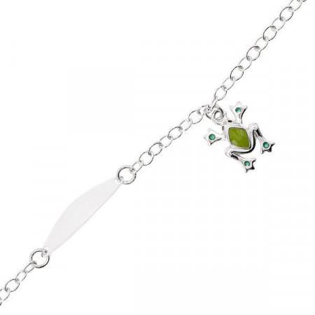 Bracciale in argento con rana e piastrina per incisione