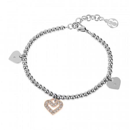 Bracciale bead bicolor con charm a forma di cuore