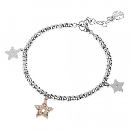 Bracciale bead bicolor con charm a forma di stella