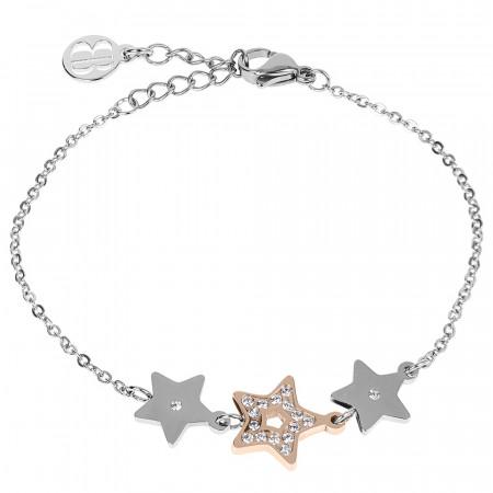 Bracciale bead bicolor con decoro centrale di stelle e zirconi