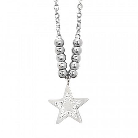 Collana rodiata con stella pendente