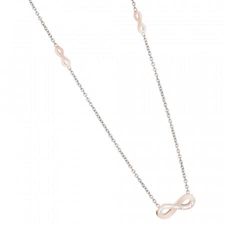 Collana con simboli dell'infinito placcati oro rosa