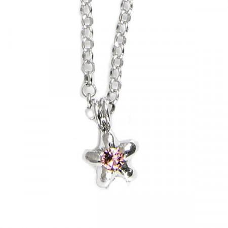Collana in argento con stella e cristalli Swarovski rosa