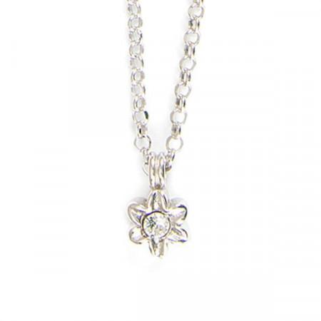 Collana in argento con fiore, boules e cristalli boreali