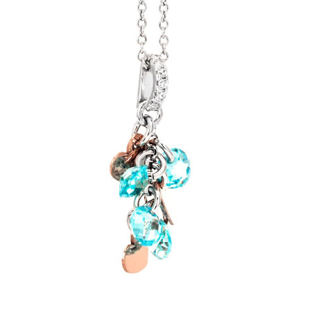 Collana in argento con charms rosati e zirconi acquamarina