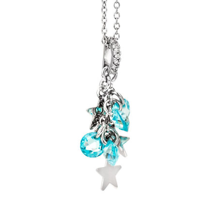 Collana in argento con charms rodiati e zirconi acquamarina