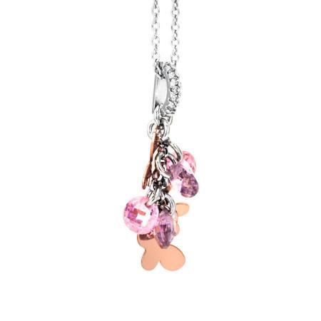 Collana in argento con charms e zirconi rosa e lavanda