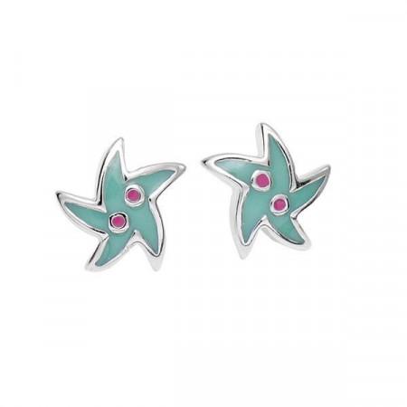 Orecchini in argento con stella marina smaltata