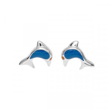 Orecchini in argento con delfino smaltato