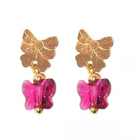 Orecchini pendenti in argento con Swarovski rosa