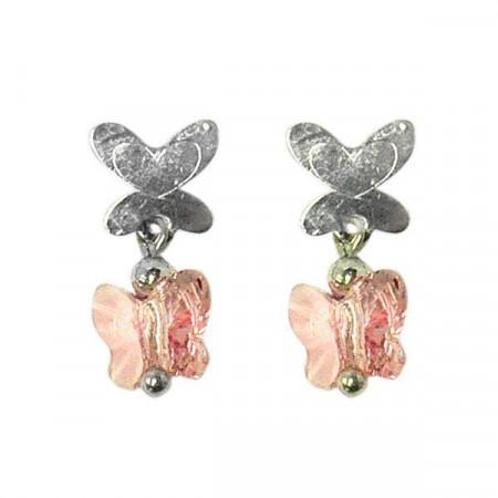 Orecchini pendenti in argento con Swarovski rosa antico