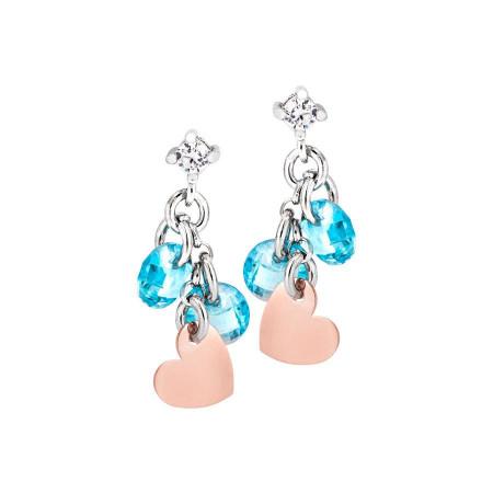 Orecchini in argento con charms rosati e zirconi acquamarina