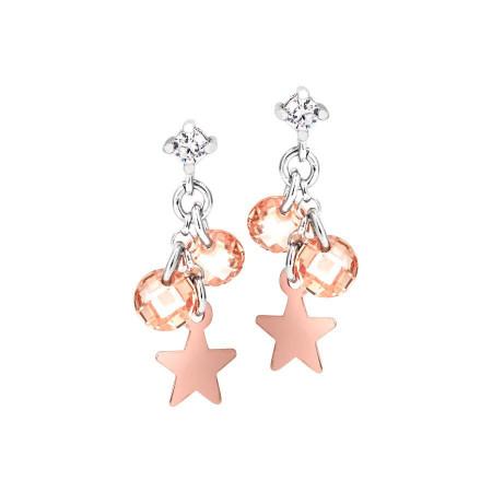 Orecchini in argento con charms rosati e zirconi champagne