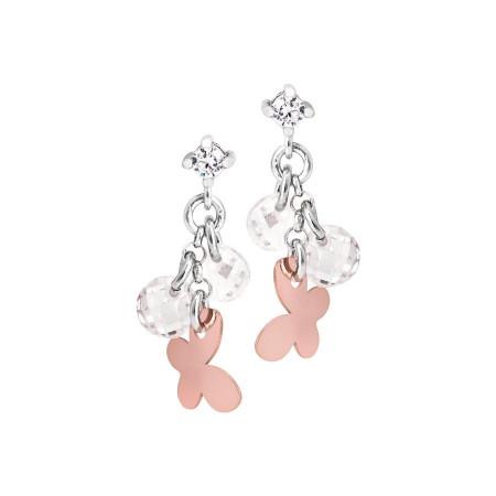 Orecchini in argento con charms rosati e zirconi bianchi