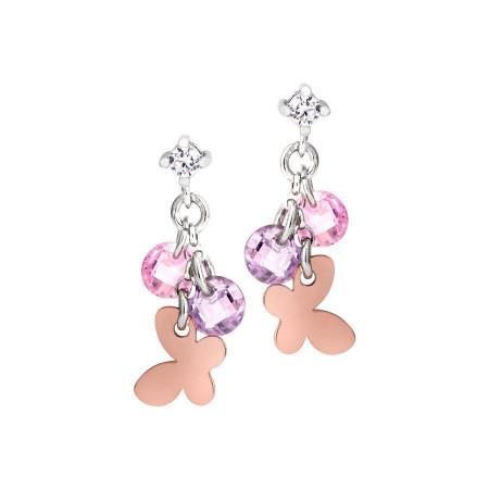 Orecchini in argento con charms e zirconi rosa e lavanda