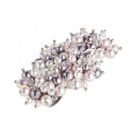 Anello doppio con bouquet di cristalli e perle Swarovski aurorora boreale, mauve, rosaline e white
