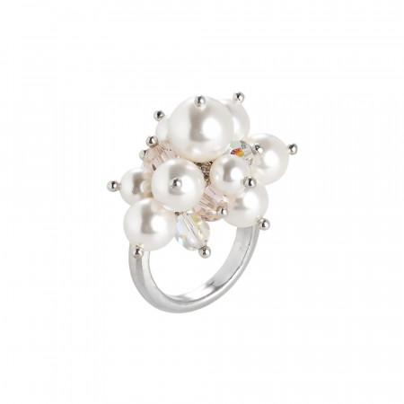 Anello con bouquet di cristalli e perle Swarovski silk, aurora boreale e white