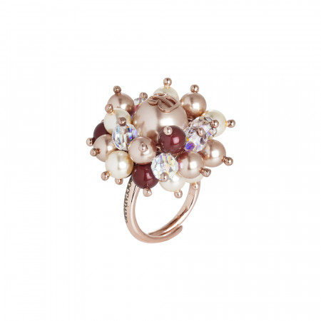 Anello con perle Swarovski bordeaux, rose gold e light gold e cristalli