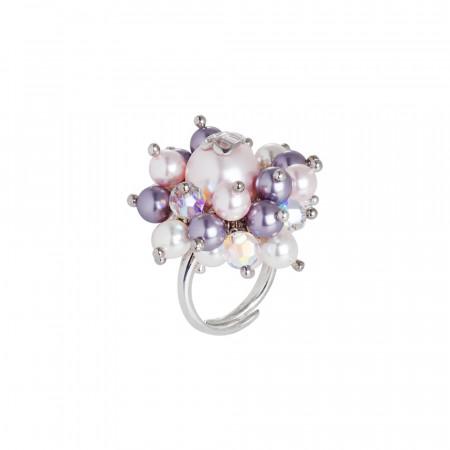 Anello con perle Swarovki mauve, rosaline e bianche e cristalli