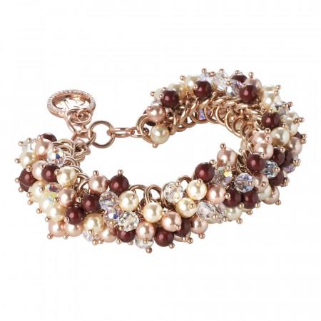 Bracciale con perle Swarovski bordeaux, light gold e rose peach e cristallo aurora boreale