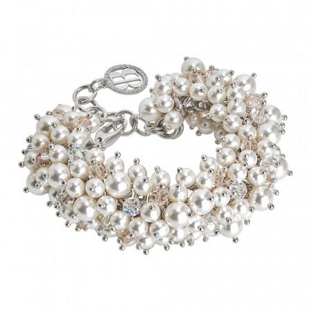 Bracciale con composizione di perle Swarovski white e cristalli Swarovski aurora boreale