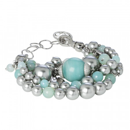 Bracciale con amazzonite e perle Swarovski light grey