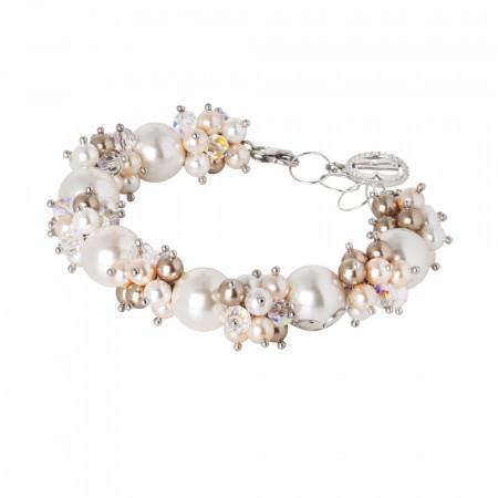 Bracciale con perle e cristalli Swarovski dalle sfumature color bronzo e zirconi