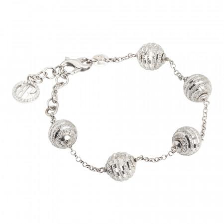 Bracciale in argento con sfere diamantate e zirconi