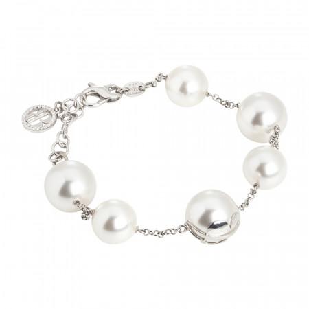 Bracciale con perle Bianche Swarovski e zirconi