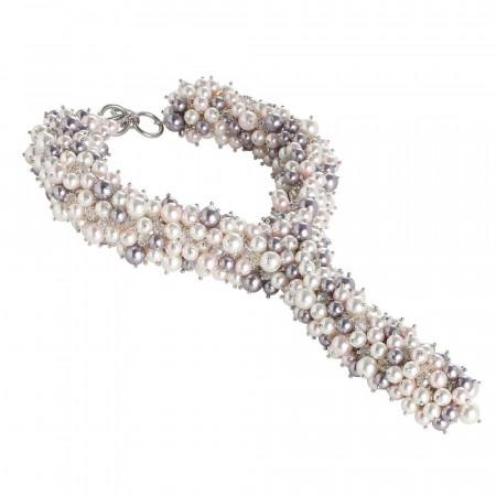 """Collana cravattino con bouquet di perle e cristalli Swarovski ispirazione """"Primavera"""""""