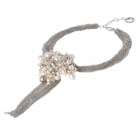 Collana multifilo con centrale di perle e cristalli Swarovski
