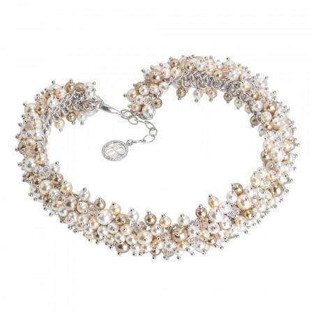 Collana con composizione di perle e cristalli Swarovski dalle tonalità dorate