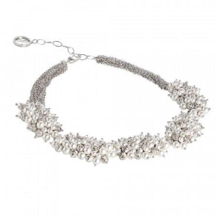 Collana multifilo con composizioni di perle Swarovski e sfere diamantate