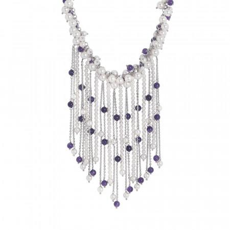 Collana con frange di perle Swarovski e ametista