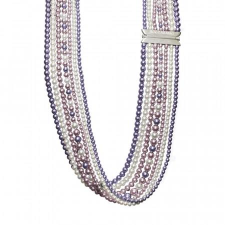 Collana multifilo di perle Swarovski mauve, rosaline e white