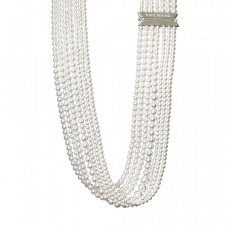 Collana multifilo di perle Swarovski white
