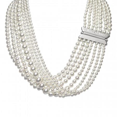 Collana multifilo con drappeggio di perle Swarovski white