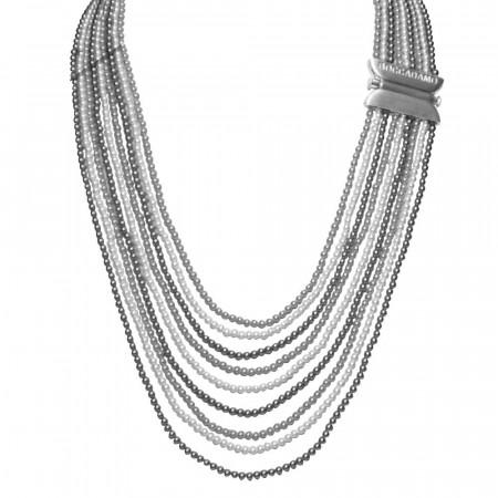 Collana con fili degradè di perle Swarovski light grey e grey