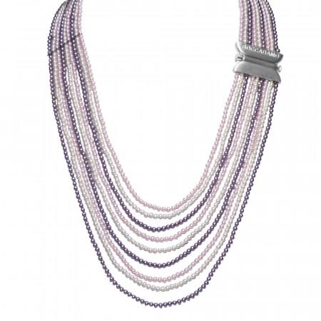 Collana con fili degradè di perle Swarovski mauve, rosaline e white