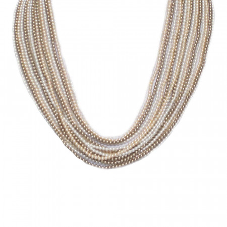 Collana multifilo degradè di perle Swarovski bronze, white, peach