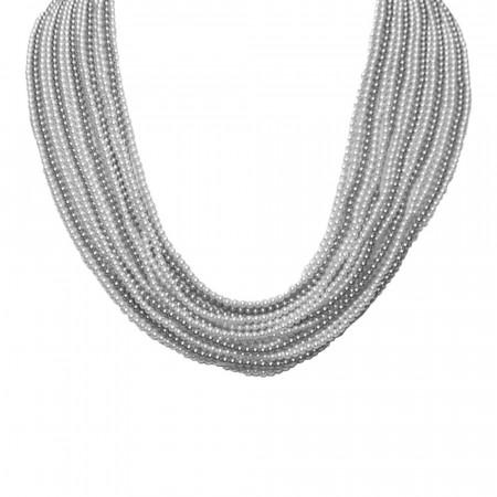 Collana multifilo degradè di perle Swarovski grey e light grey