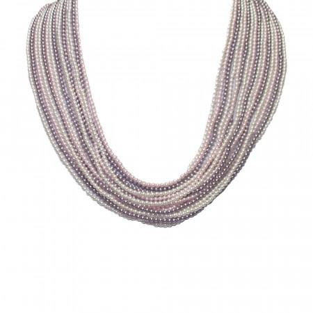 Collana multifilo degradè di perle Swarovski mauve, rosaline e white