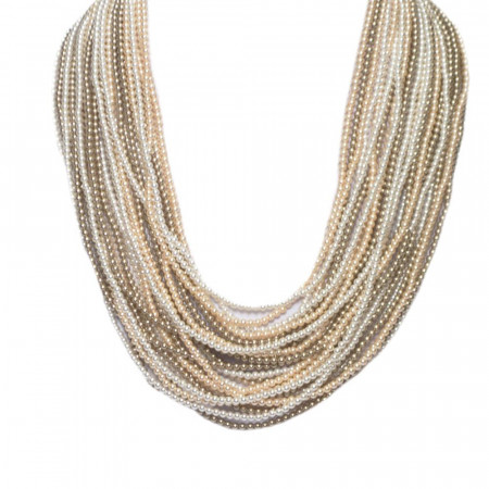 Collana con 21 fili degradè di perle Swarovski bronze, peach e white